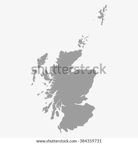 Map of Scotland in gray on a white background - stock vector