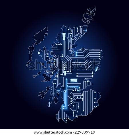 Map of Scotland with electronic circuit. Contour map of Scotland with a technological electronics circuit.  - stock vector