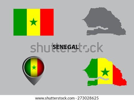 Map of Senegal and symbol - stock vector