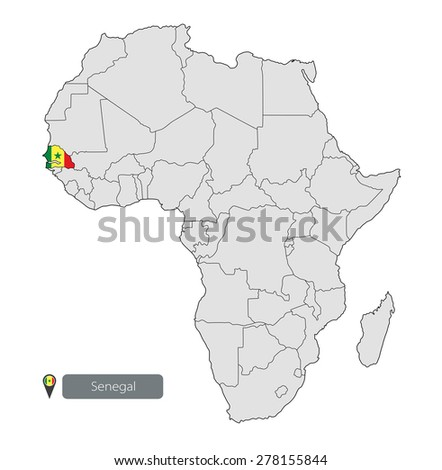 Map Senegal Official Flag Location On Stock Vector 278155844