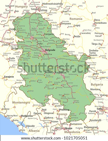 Map Serbia Shows Country Borders Urban Stock Vector HD Royalty Free