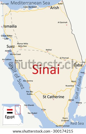 Map of Sinai Peninsula Vector English Road Map  - stock vector