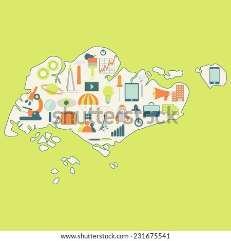 Map of Singapore with technology icons. Contour map of Singapore with icons of technology, business, science, communication - stock vector