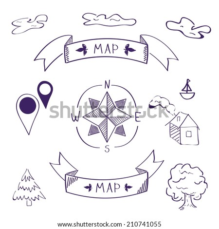 map of sketch. icons set - stock vector
