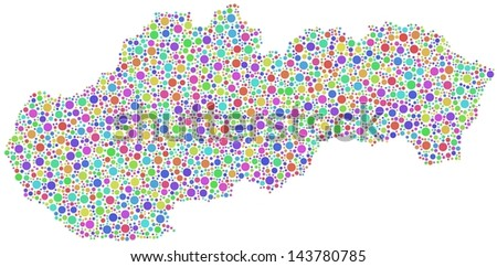 Map of Slovakia - Europe - in a mosaic of harlequin circles