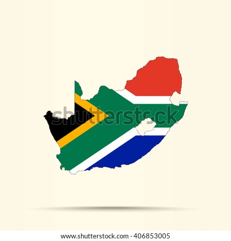 Map of South Africa in South Africa flag colors - stock vector