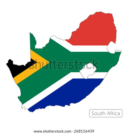 Map of South Africa with an official flag. Illustration on white background - stock vector
