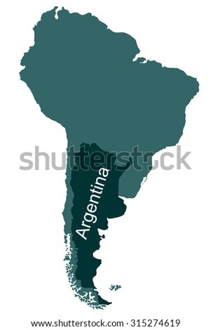 Map of South America, Argentina - stock vector