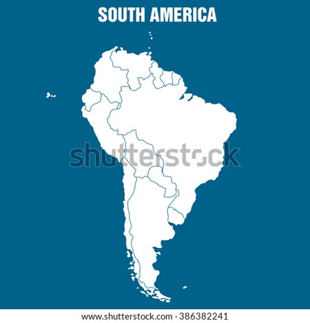 Map of South America Continent - Illustration - stock vector