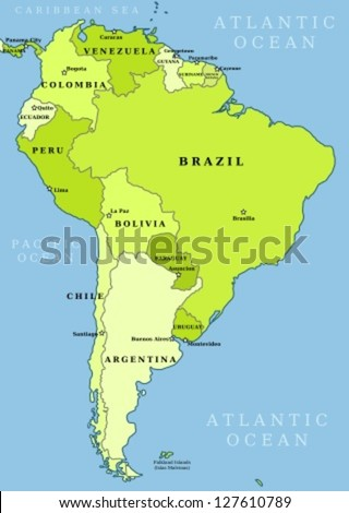Map of South America. Political division - countries and capital ciites. Countries are separate objects, you can change color of every country. - stock vector