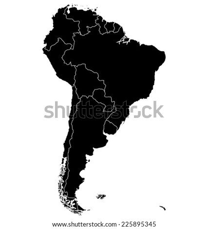 Map of South America. Separable Borders - stock vector