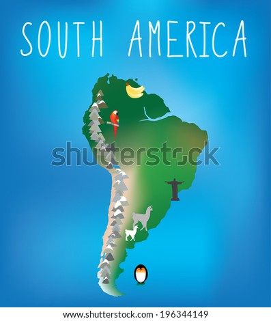 map of south america showing famous landmarks - stock vector