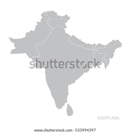 Map South Asia Vector Stock Vector Shutterstock - South asia map