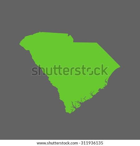 map of South Carolina - stock vector