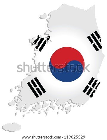 map of South Korea with the image of the national flag - stock vector