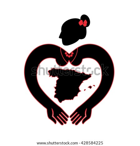 Map of Spain. A symbolic image of Spain. Flamenco dancer with hands in the form of heart.  barcelona,  madrid,  spain flag,  spain map,  spanish, flamenco,  flamenco dancer,  flamenco spain  - stock vector