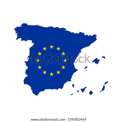 Map of Spain in European Union flag colors - stock vector