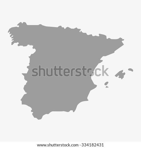 Map  of Spain in gray on a white background - stock vector