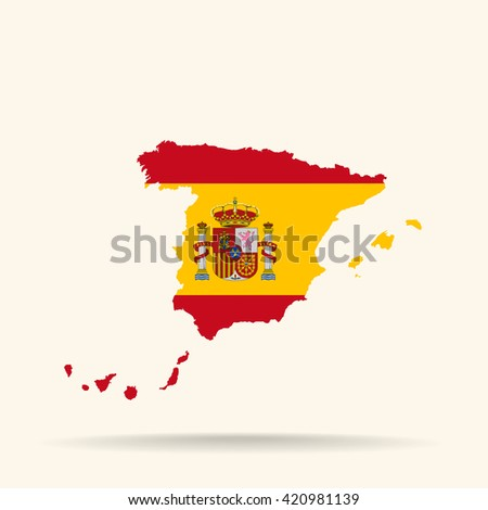 Map of Spain in Spain flag colors - stock vector