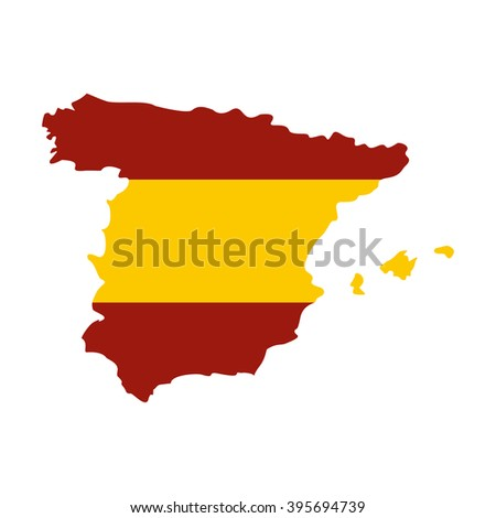 Map of Spain in Spanish flag colors icon - stock vector