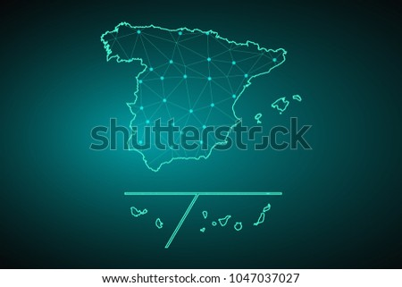 Map Spain Provinces Wire Frame 3d Stock Vector 1047037027 Shutterstock