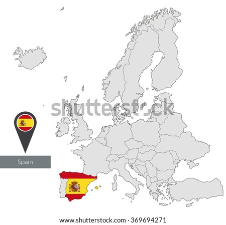 Map of Spain with an official flag. Location in Europe  - stock vector
