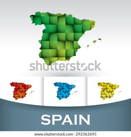 Map of Spain with colorful tiles - stock vector
