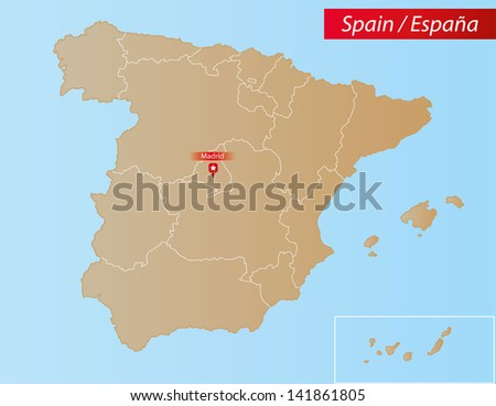 Map of Spain With islands and Autonomous Communities. - stock vector