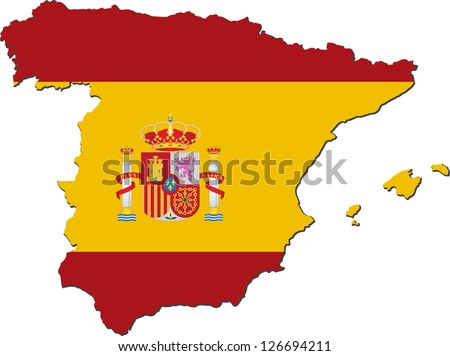 Map of Spain with national flag isolated on white background - stock vector