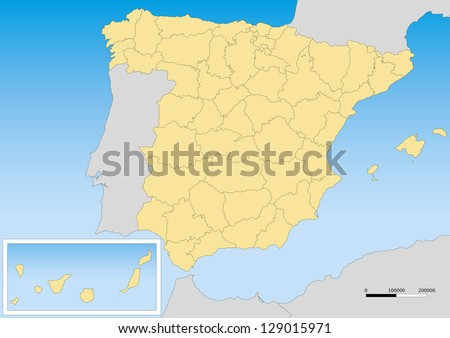 Map of spain with provinces and islands. Scale 1:5000000 UTM projection - stock vector