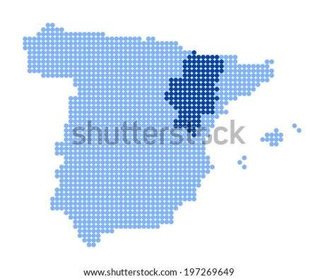 Map of Spain with stylized map of Aragon made from blue dots (vector) - stock vector