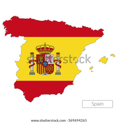 map of Spain with the flag. Europe  - stock vector