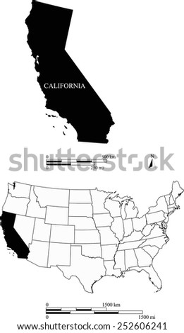 Map of state of California along with USA map and scale - stock vector