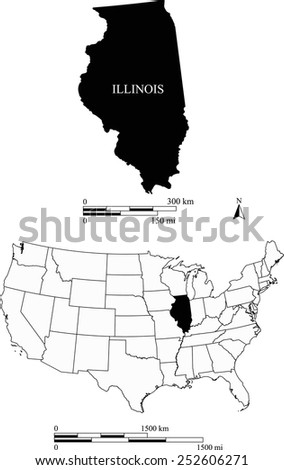 Map of state of Illinois along with USA map and scale - stock vector