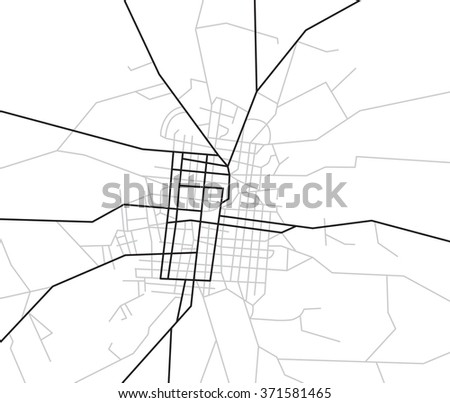 map of streets - vector city - stock vector
