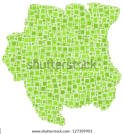 Map of Suriname - latina America - in a mosaic of green squares. White background
