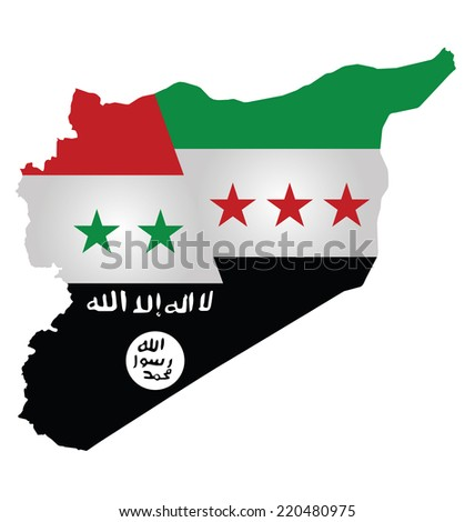 Map of Syria showing the three warring factions dividing the county translation on flag reads there is no God but God Mohammed is his messenger - stock vector