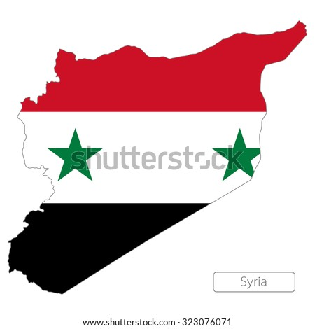 Map of Syria with an official flag. Asia - stock vector