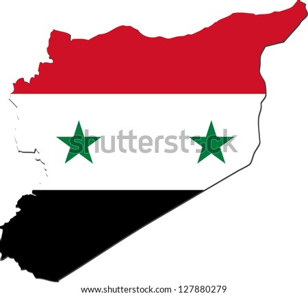 Map of Syria with national flag isolated on white background - stock vector