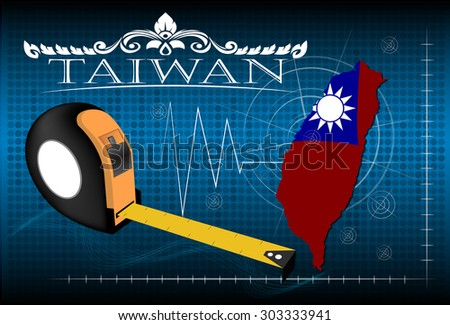 Map of Taiwan with ruler, vector. - stock vector