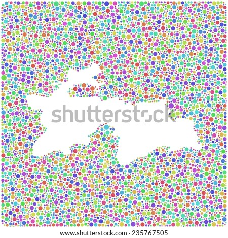 Map of Tajikistan - Asia - into a square icon. Mosaic of harlequin circles - stock vector