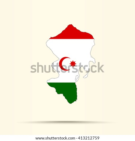 Map of Talysh-Mughan Autonomous Republic in Talysh-Mughan Autonomous Republic flag colors - stock vector