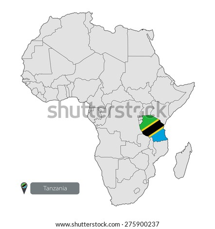 Map Tanzania Official Flag Location On Stock Vector HD Royalty Free