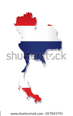 map of thailand with the image of the national flag - stock vector