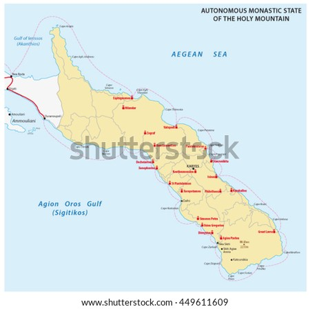 map of the Autonomous Monastic State of the Holy Mountain, Greece - stock vector