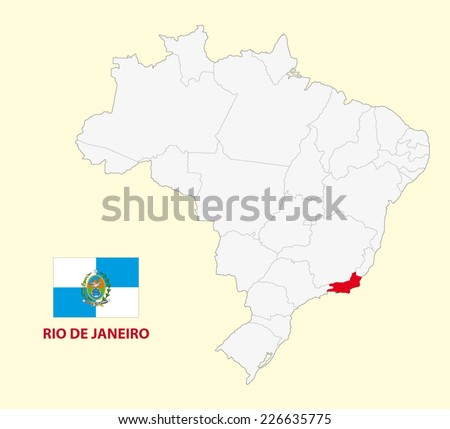 map of the brazilian state rio de janeiro with flag - stock vector