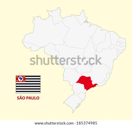 map of the brazilian state sao paulo with flag - stock vector