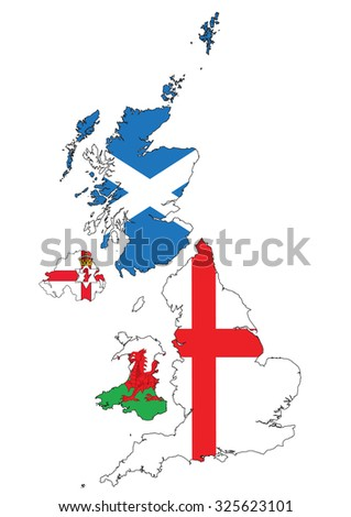 Map of the British Isles, UK, Great Britain, Separated regions with flags. - stock vector