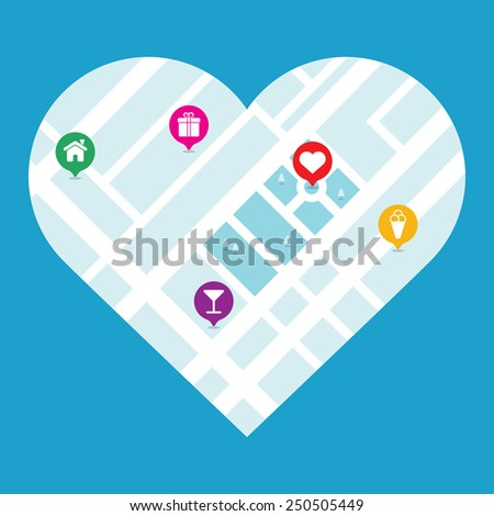 map of the city in the heart on a blue background, isolated - stock vector