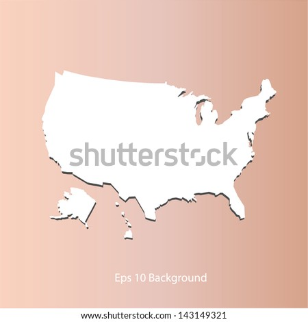 Map of the continental United States on orange background. - stock vector